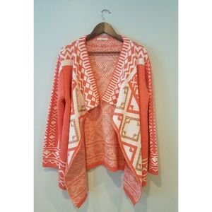 Coral, White & Gold Thick Cardigan Sweater size L